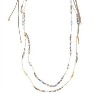 Beaded Crystal and Leather Necklace